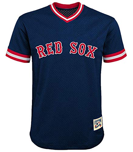 MLB Youth 8-20 Mesh Team Color Cooperstown V-Neck Jersey (X-Large 18/20, Boston Red Sox Navy)