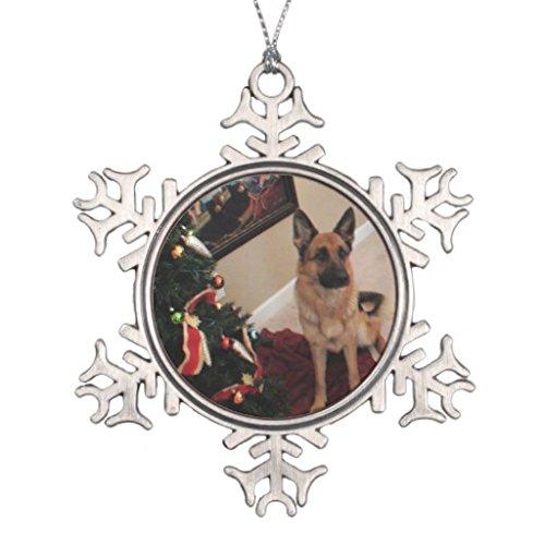 - Pattebom German Shepherd Pewter Snowflake Christmas Ornaments Christmas Tree Hanging Pendant Decoration Novelty Xmas Gifts