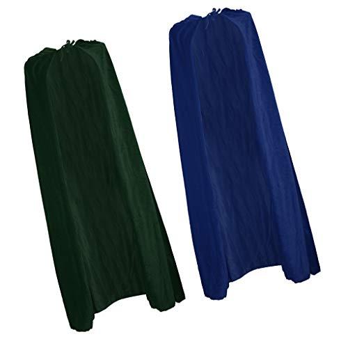 Prettyia 2 Piezas De Halloween Adultos Hombres De Las Mujeres Azul Verde Terciopelo Capas con Capucha Gothic Devil Cloak...