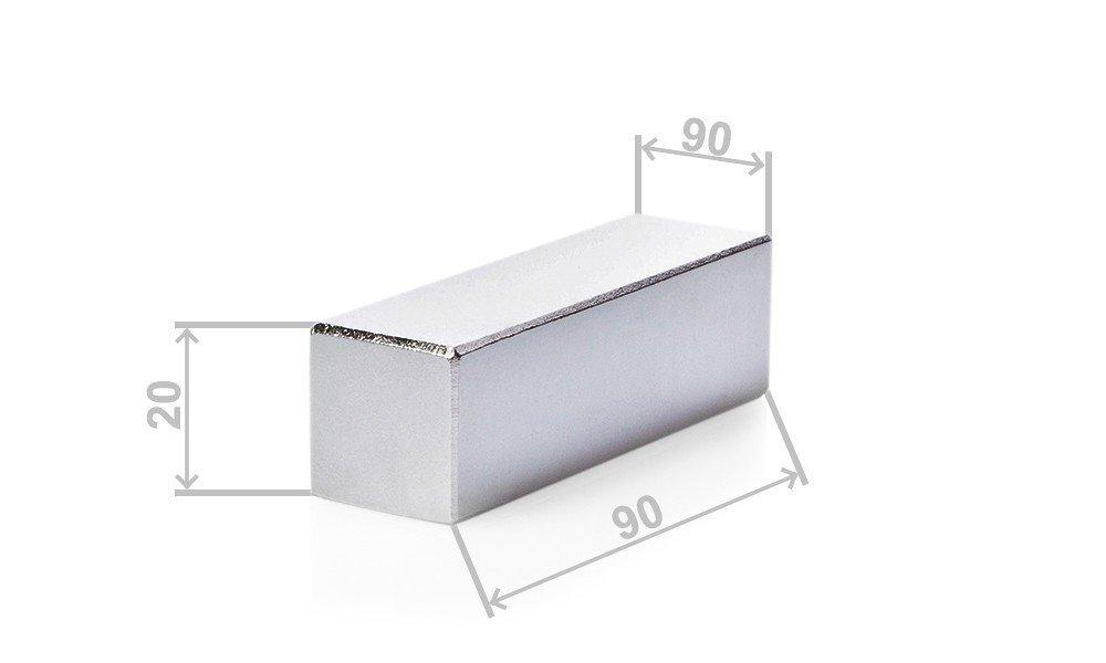 vernickelt Grade N52 Garten Hobbyraum 90x90x20mm Neodym Quadermagnet Blockmagnete f/ür Garage