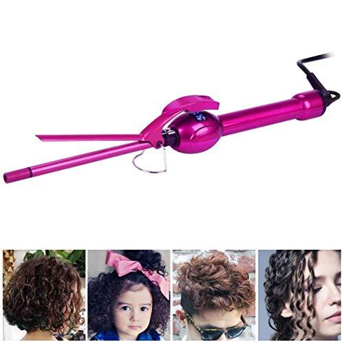 Iron Curling Iron (iGutech 9mm Mini Hair Curler Curling Tong Tourmaline Ceramic Barrel Curling Iron for Men Women (Rose Red))