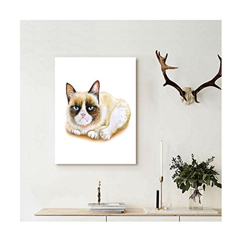 Liguo88 Custom canvas Animal Decor Grumpy Siamese Cat Angry Paws Asian Kitten Moody Feline Fluffy Love Art Print Wall Hanging for Brown and Beige (The Moody Christmas Blues Album)