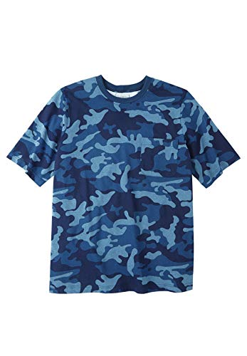 Boulder Creek Men's Big & Tall Heavyweight Crewneck Pocket Tee, Blue Indigo Camo