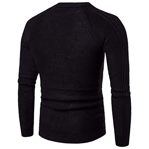 Suéter Color Invierno Moda Negro De Punto Patrón Verticales Rayas Largo Sólido Hombres Retro Elegante BUFrB