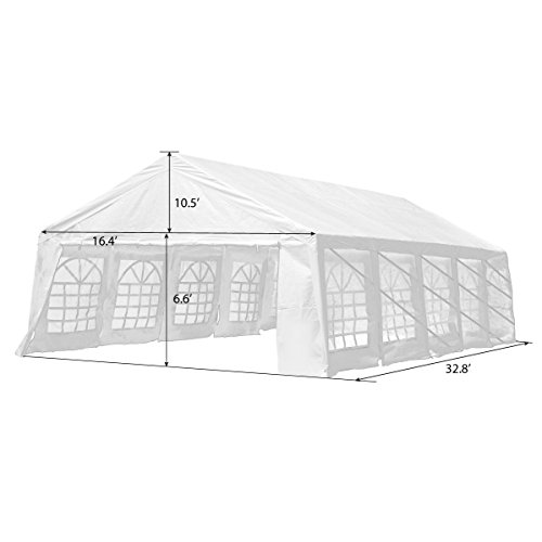UNIONLINE 19.7'W x 32.8'D Heavy Duty Outdoor Wedding Carport Canopy Party Tent White with Sidewalls (16.4'W x 32.8'D) by UNIONLINE