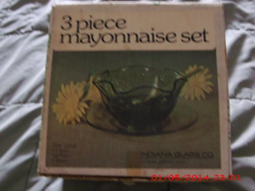 3 Piece Mayonnaise - Vintage Indiana Glas 2128 Olive 3 Piece Mayonnaise Set in Original Box