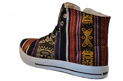 inKKas >      > Black Bird High Top Sneaker - fait à la main au Pérou - Chaussure Baskets Montantes Multicolore T. 37-40 EUR