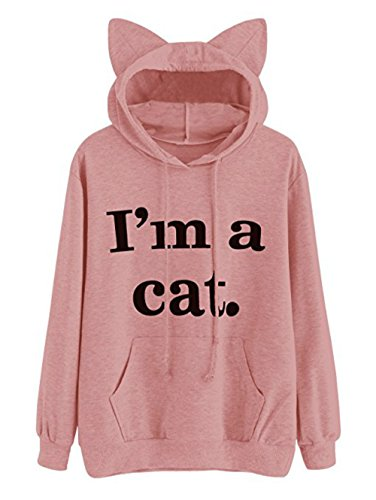 A&E Women's Long Sleeve kangaroo pockets Slogan Letter Print Cute Cat Ear Pullover Hoodie