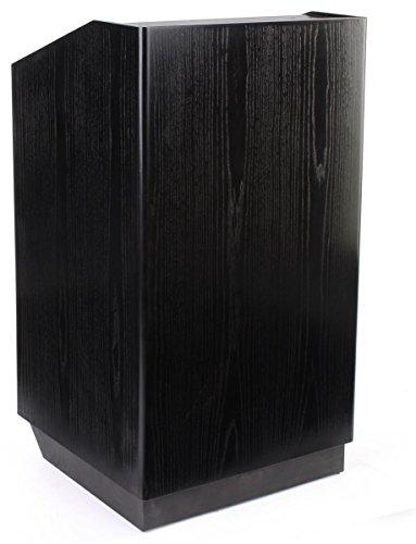 Displays2go Presentation Lectern Podium, Black Wood Grain, Hidden Wheels, Locking Cabinet (XQHLHNBKLK) by Displays2go