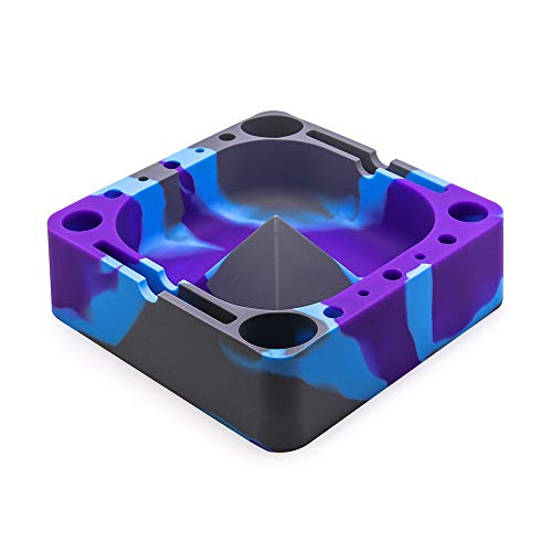 VEEAPE Silicone Ashtray, Pyramid Tap Tray with Compartments for Holding Coils, Lighters, Pens, Papers, and More (Grey/Purple/Blue)