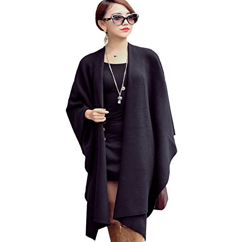 Ysiop Women Knit Wraps Big Size Pashmina Cappa Worm Tippet Black