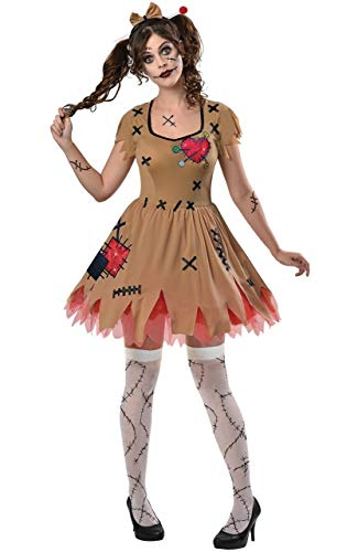 Ladies Creepy Spooky Scary Evil Voodoo Doll Halloween Carnival 3 Piece Fancy Dress Costume Outfit UK 8-16 (EU 36-44) (UK 10-12 (EU 38-40))]()