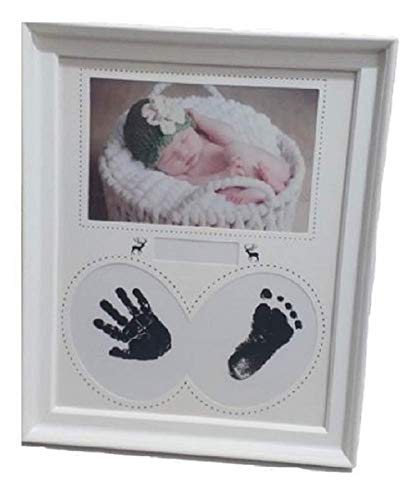 - Hugesmil Baby's Handprints Foot - Shaped Frame Baby Souvenirs Baby Photo Frame All - Purpose Combination Non - Toxic and Safe Birth Commemoration Birth Celebration Memorial Photo Stand