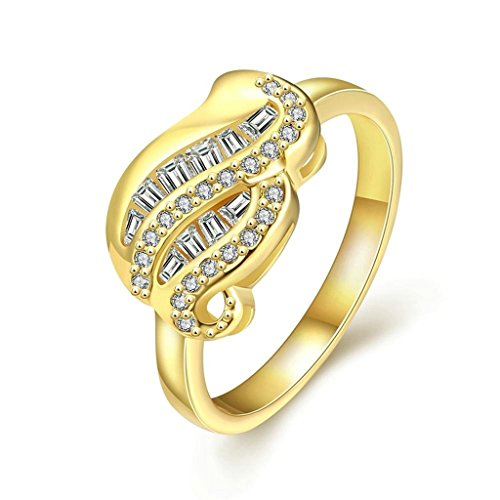 Bishilin Women's Jewelry 18K Gold Plated Rings For Girls Plant Shape White Gold CZ Size 8