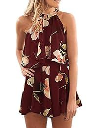 Women's Floral Print High Neck Pleated Romper Dress...