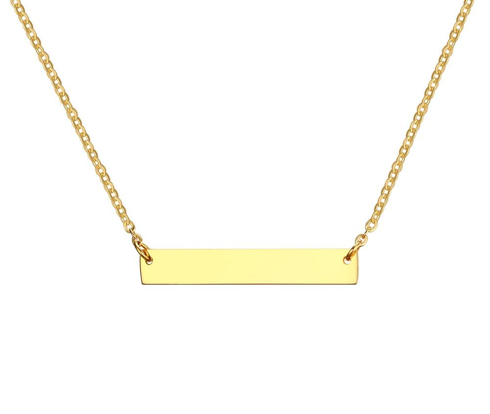 Personalized Your Name- PJ Jewelry Stainless Steel Engravable Bar Necklace for Women