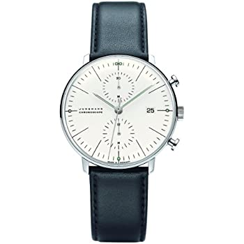 Junghans Max Bill Chronoscope Mens Automatic Chronograph Watch - 40mm Analog Silver Face with Luminous Hands and Date - Stainless Steel Black Leather Band ...