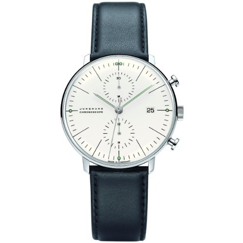 - Junghans Max Bill Chronoscope Mens Automatic Chronograph Watch - 40mm Analog Silver Face with Luminous Hands and Date - Stainless Steel Black Leather Band Luxury Watch Made in Germany 027/4600.00