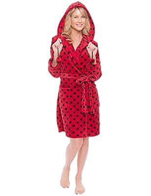 Noble Mount Women's Premium Coral Fleece Plush Spa/Bath Short Hooded Robe