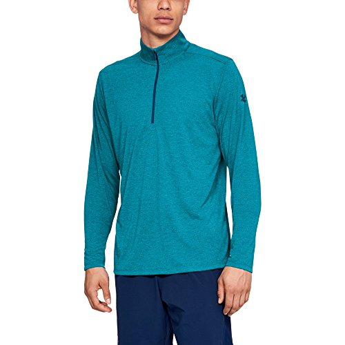 Under Armour Men's Threadborne 1/2 Zip, Deceit (439)/Techno Teal, XXX-Large (Under Armour Mens Qualifier 1 4 Zip)