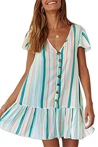 (PRETTYGARDEN Women's Summer Casual Dress Short Sleeves V Neck Colorful Striped Loose Fit Ruffle Mini Dress (Dark Green,)