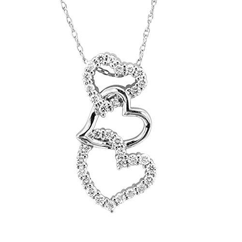 14k White Gold Diamond Heart Pendant - 14k White Gold Diamond Heart Pendant Necklace (1/3 carat)