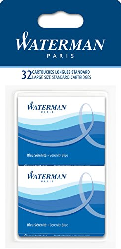 Waterman   4 Packs Of 8 Washable Florida Blue Cartridges  Standard Size In Blister