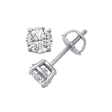 Round Diamond stud (IGI Certified 0.70 ct & up) Plus Quality ScrewBack 14K from 0.04ct - 2.00ct PARIKHS ST008RD-G14RSC