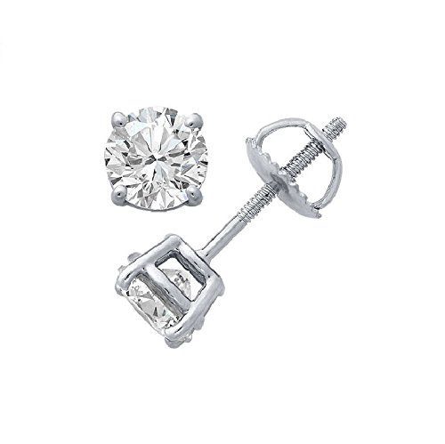 PARIKHS Round Diamond stud Plus Quality Screw Back 14K White Gold (0.10 ctw) (Single Diamond Stud Earring)
