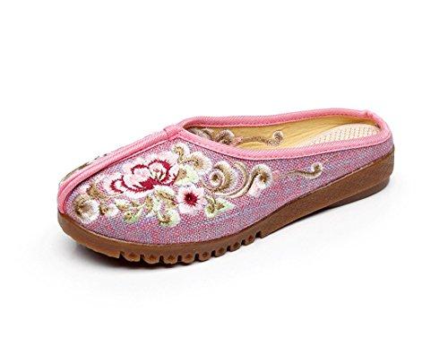 Tela de Americanos Bordados Zapatos de y Sandalias Pink hogar Mujer Tela Lino Europeos rxqY4wrZP