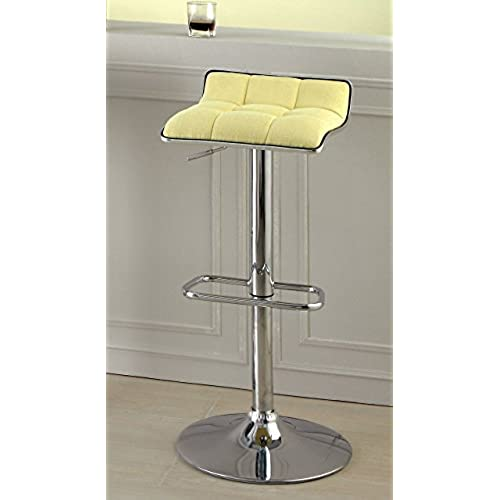 Furniture Of America Sheffield Contemporary Swivel Bar Stool, Yellow