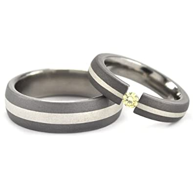 Amazoncom Matching Titanium and Sterling Silver Wedding Ring Set