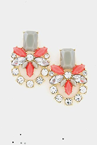 Earring Ayala Post (Karmas Canvas Floral Crystal Post Earring (Coral))