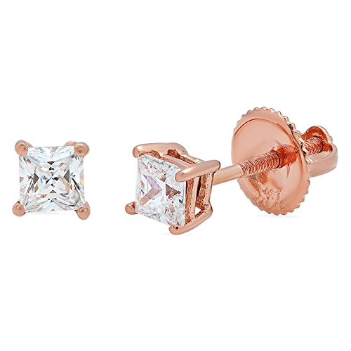 0.60 CT Princess Brilliant Cut CZ Solitaire Stud Earrings in 14k Rose Gold Screw Back