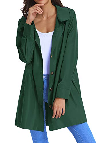 Women's Waterproof Raincoat Outdoor Hooded Rain Jacket Windbreaker KK822-8 L Green ()
