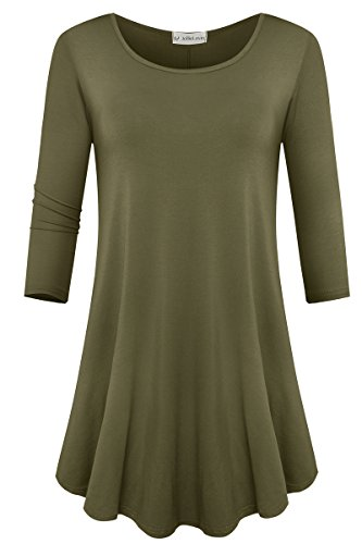 JollieLovin Womens 3/4 Sleeve Loose Fit Swing Tunic Tops Basic T Shirt (Army Green, L)