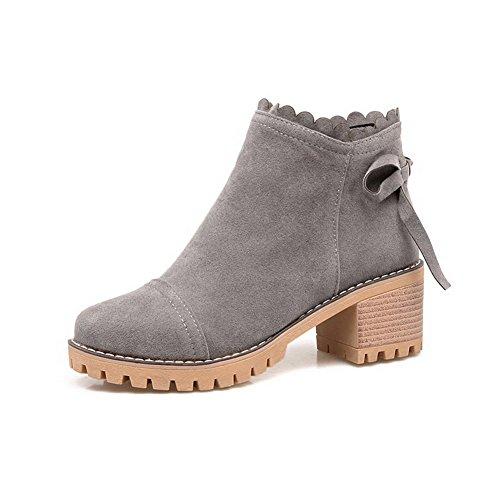 AgooLar Women's Cotton Solid Zipper Round-Toe Kitten-Heels Boots Gray Rt9GWY
