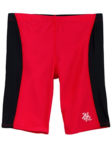 Tuga Boys Jammer Swim Short (UPF 50+), Carminio/Black, 8/10 yrs (23.5