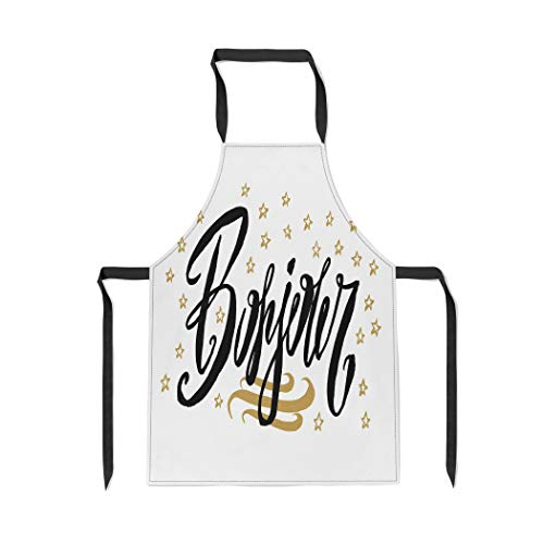 Pinbeam Apron Bonjour Hello in French Lanuguage Beautiful Scratched Black with Adjustable Neck for Cooking Baking Garden - Kitchen Apron Sayings