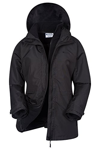 Mountain Warehouse Fell Womens 3 in 1 Spring Jacket - Water Resistant Black 6