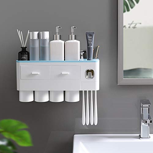 ECOCO Multifunctional Wall-Mounted Toothbrush Holder, Automatic Toothpaste Dispenser Space Saving Toothbrush Organizer with Dustproof Cover, Cups and Drawers Cosmetic Organizer (Blue, 4 Cup)