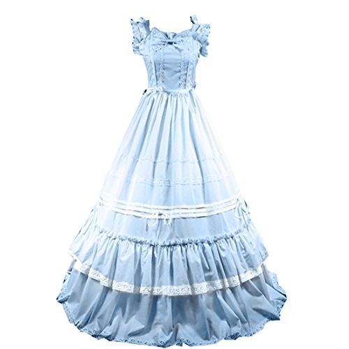 Lolita Langarm Victorian Partiss Adorable Blau Kleid Damen Lace Gothic OEwxYAqf