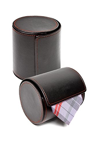 Black Tie Travel Case Roll - Perfect Business Gift - Vegan Faux Leather Necktie Anti-Wrinkle Storage Case by Ties.com
