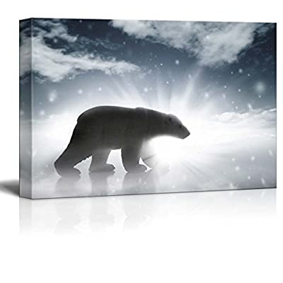 Polar Bear Silhouette In Arctic - Canvas Art