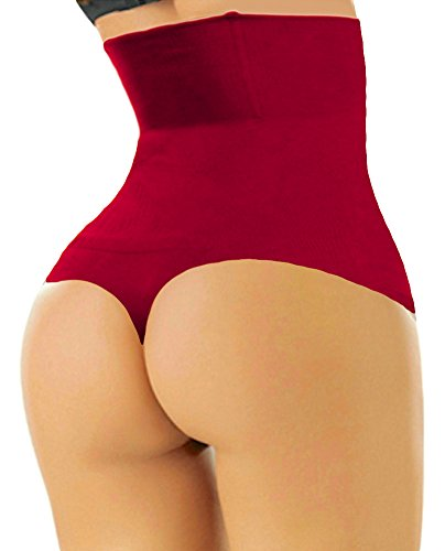 SHAPERQUEEN 102 Women Waist Cincher Girdle Tummy Slimmer Sexy Thong Panty Shapewear (XS, Wine Red)