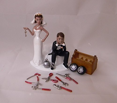 Wedding Party Reception Ethnic Hispanic Ball & Chain Mechanic Cake Topper