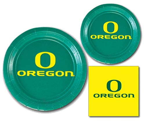 University of Oregon Ducks Party Supplies Themed Paper Plates and Napkins Serves 10 Guests -