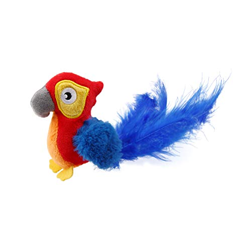 Gigwi Red Parrot Sound Squeaking Cat Toys Bird Furry Tail with Feather Melody Chaser Play N Squeak Kitten Plush Toy for Endless Fun