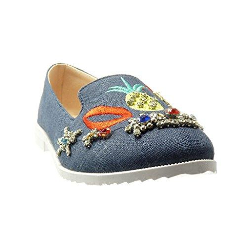 Angkorly - Zapatillas de Moda Mocasines slip-on suela de zapatillas mujer bordado joyas fantasía Talón Tacón ancho 2 CM - Azul
