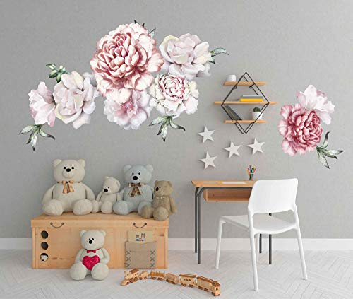 - Peony wall decals large flower wall decals flower wall decals 3d large flower wall decor vintage floral wall stickers nursery wall art decals cik2435